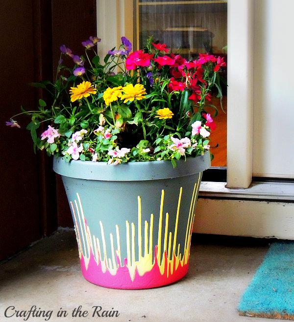 Drip paint flower pot