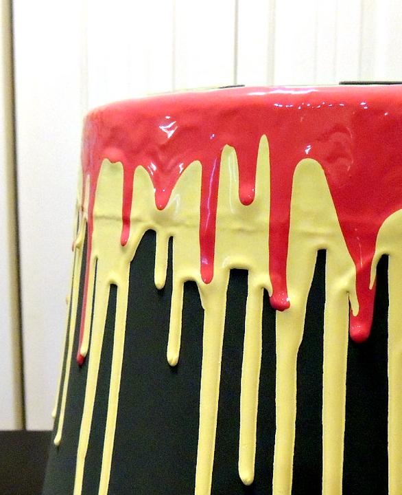 Drip painting a flower pot