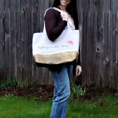 Glitter Bottomed Canvas Tote