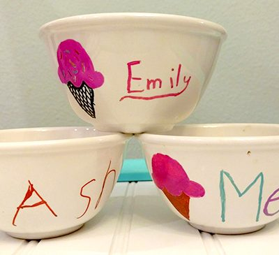 Painted Ice Cream Bowls and 2 Ingredient Ice Cream