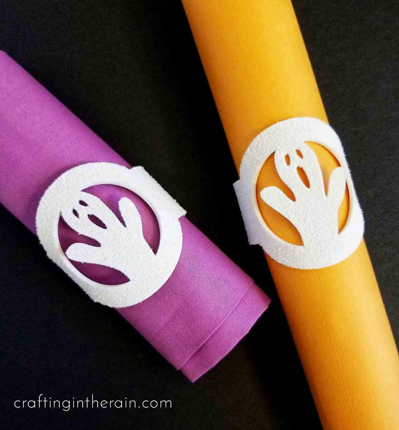 Ghost Napkin Rings With Cricut Foam Crafting In The Rain