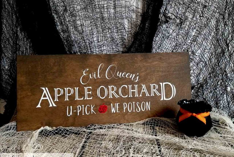 evil queen's apple orchard wood sign