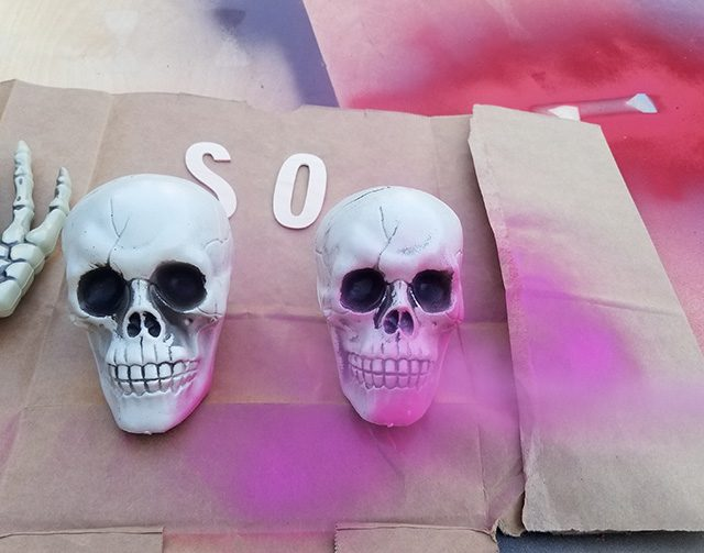 spray paint dollar store skull