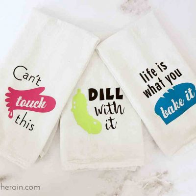 Cute Kitchen Towels Gift Set with Iron-on Vinyl