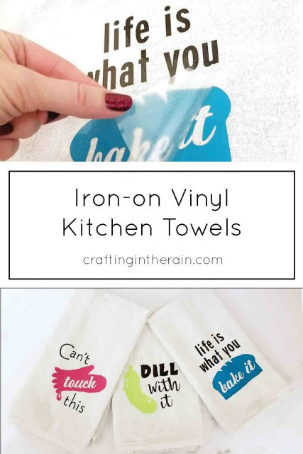 how to put iron on vinyl on towels