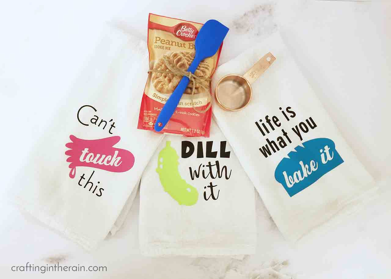 Cute Kitchen Towels Gift Set with Iron-on Vinyl - Crafting