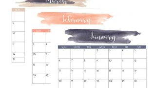 Navy and Blush 2020 Printable Calendar