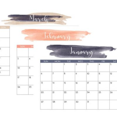 Navy and Blush 2019 Printable Calendar