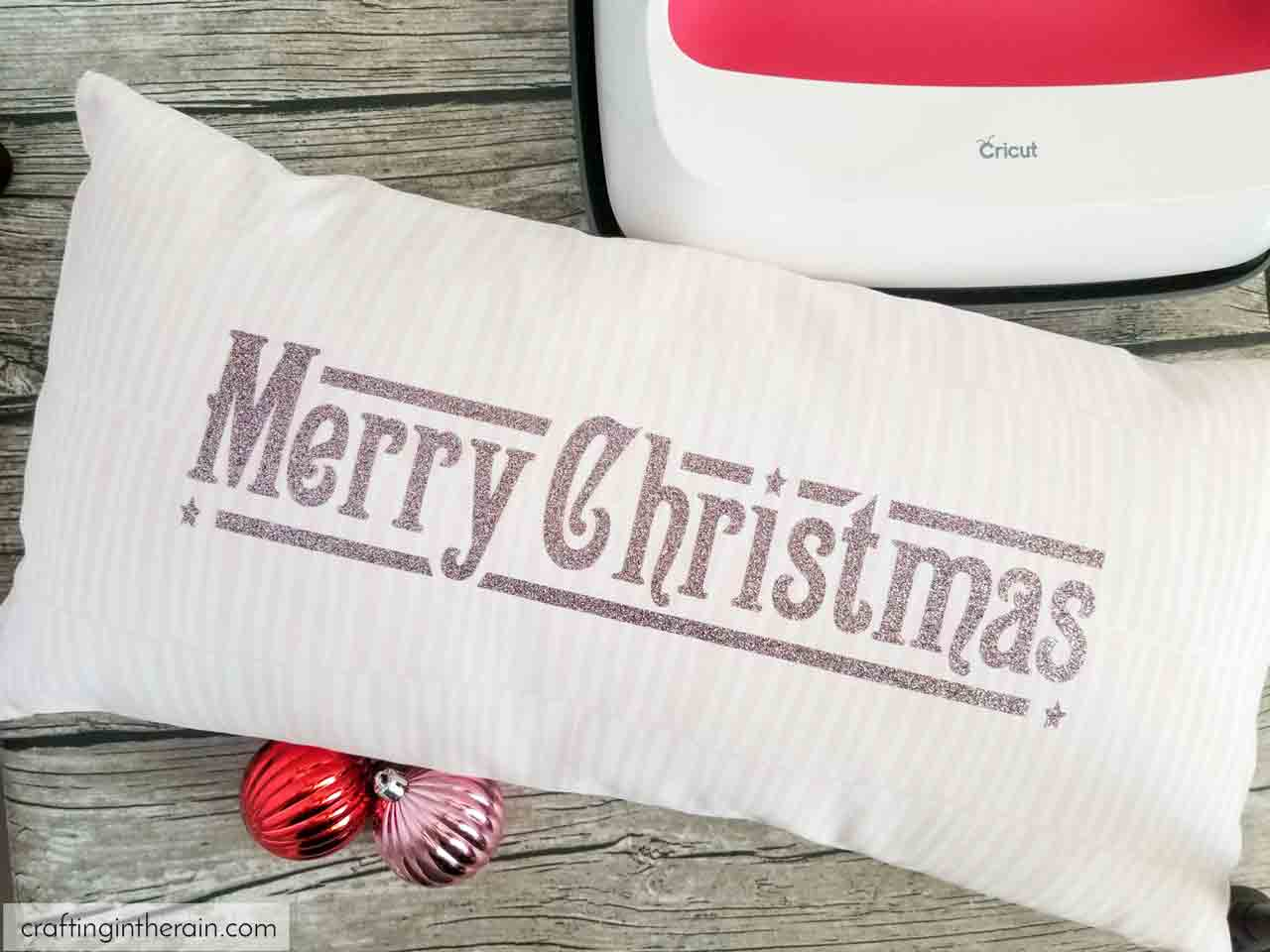 cricut merry christmas pillow