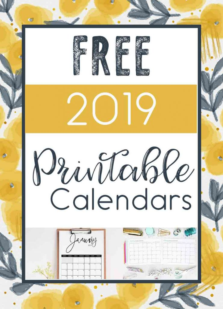 2019 Free Printable Calendars - Crafting in the Rain