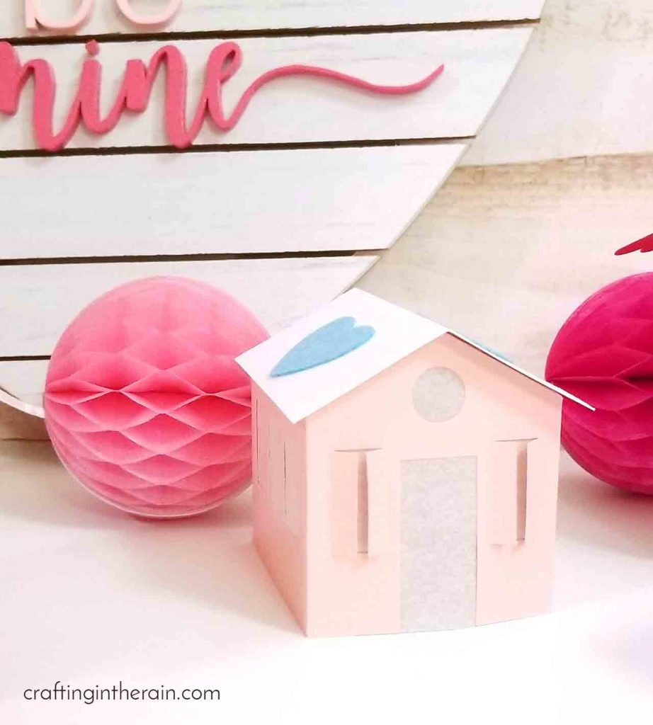 Cute pink paper house