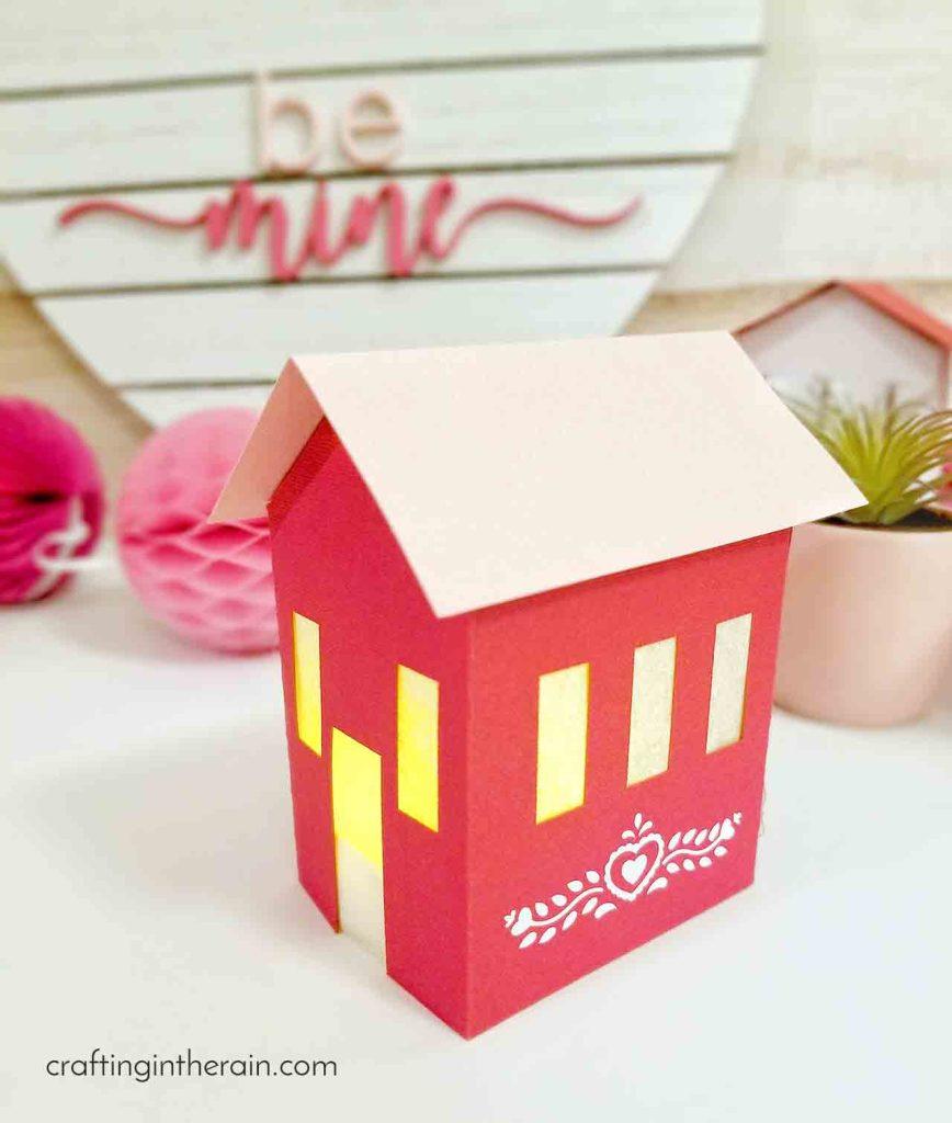 Light up paper house valentines