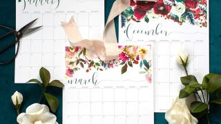 2019 Printable Calendar with Floral Design