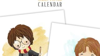 Free Printable 2019 Watercolor Harry Potter Calendar