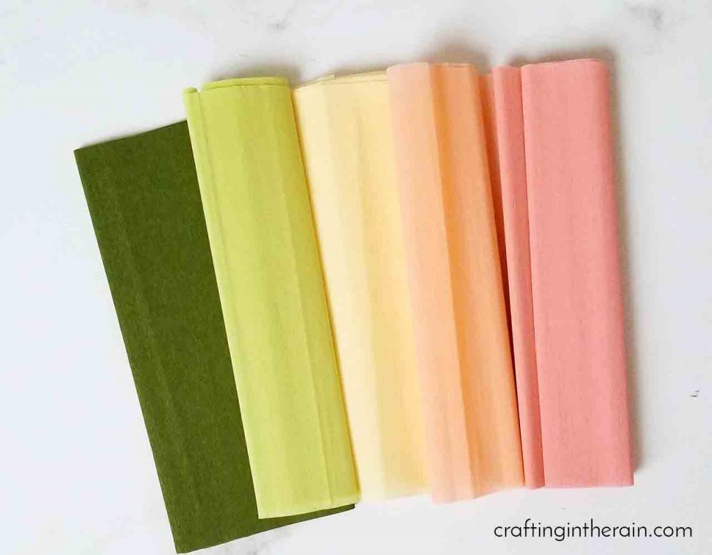 Crepe paper sheets pastel colors