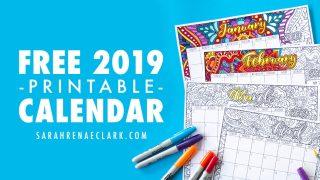 Free 2019 Printable Coloring Calendar