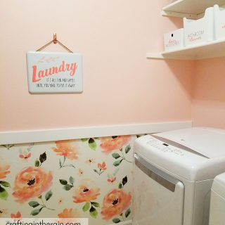 Peach laundry room makeover