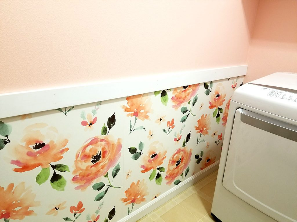 Pink flower wallpaper in laundry room