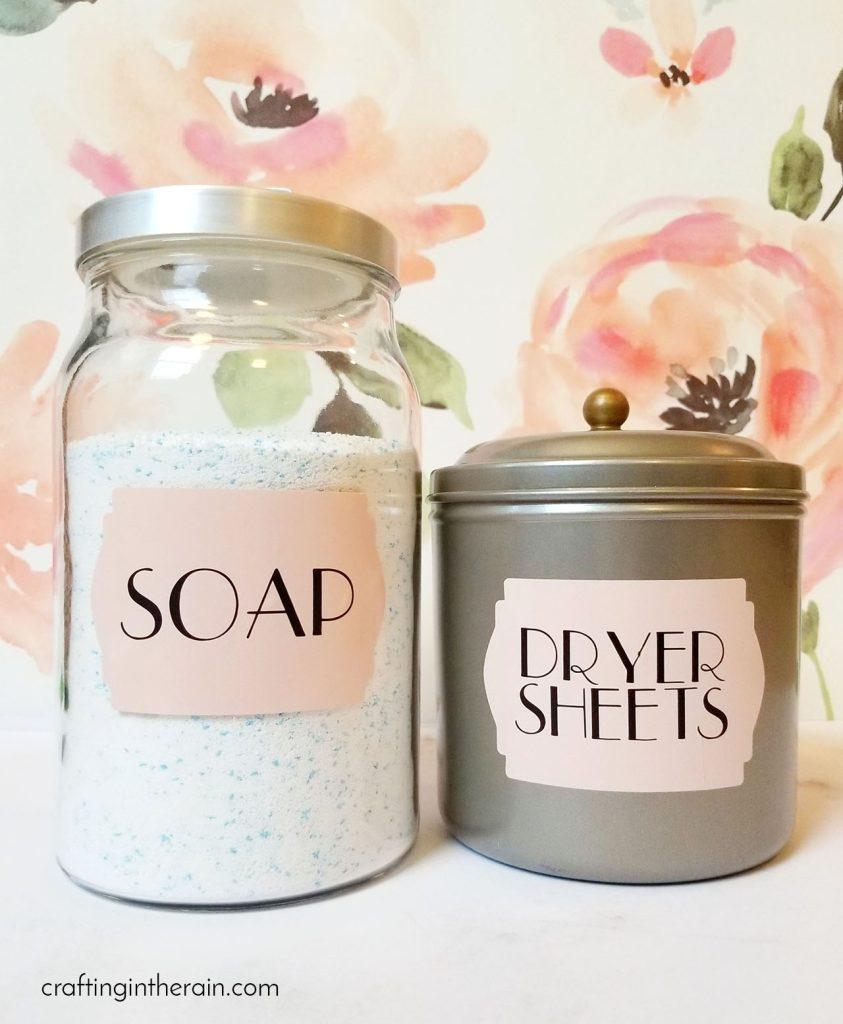 Pretty laundry soap storage