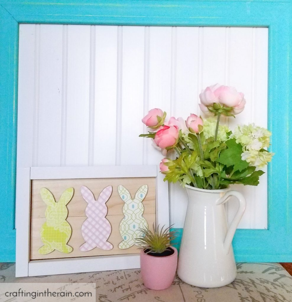 Framed mod podge bunnies