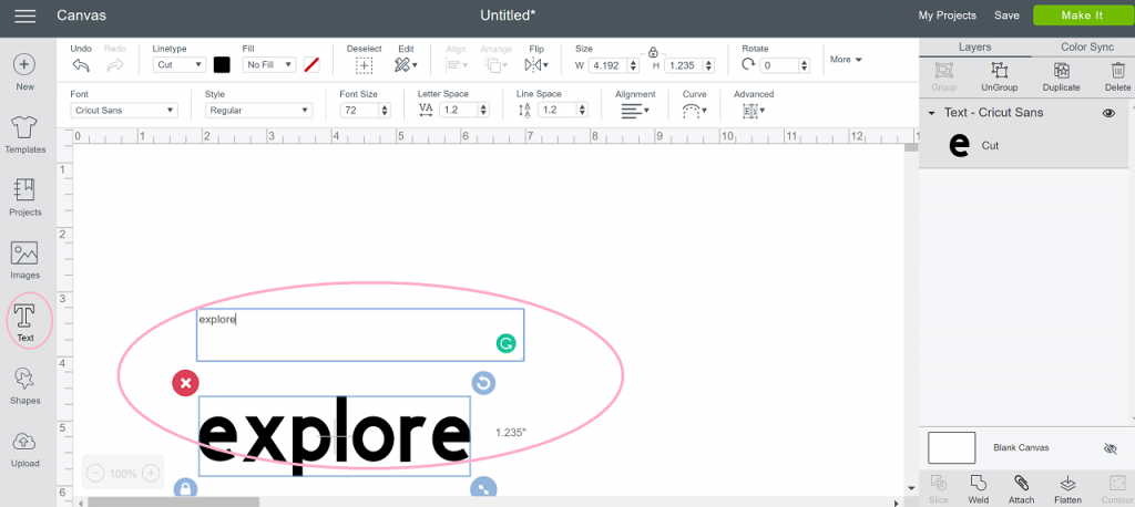 How to type in Design Space