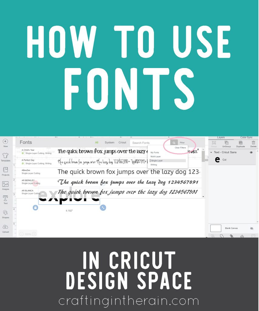 Using Fonts in Cricut Design Space - Crafting in the Rain