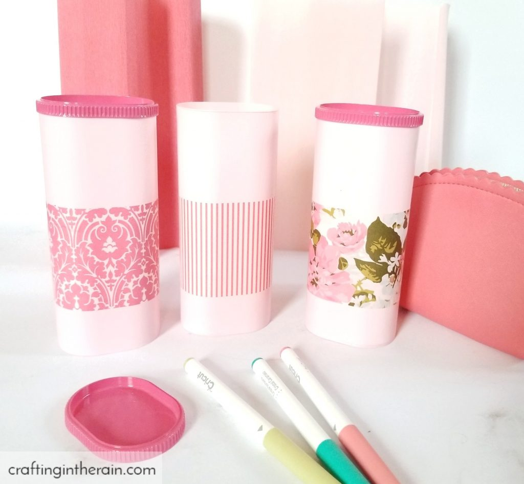 Pink gift containers with mod podge