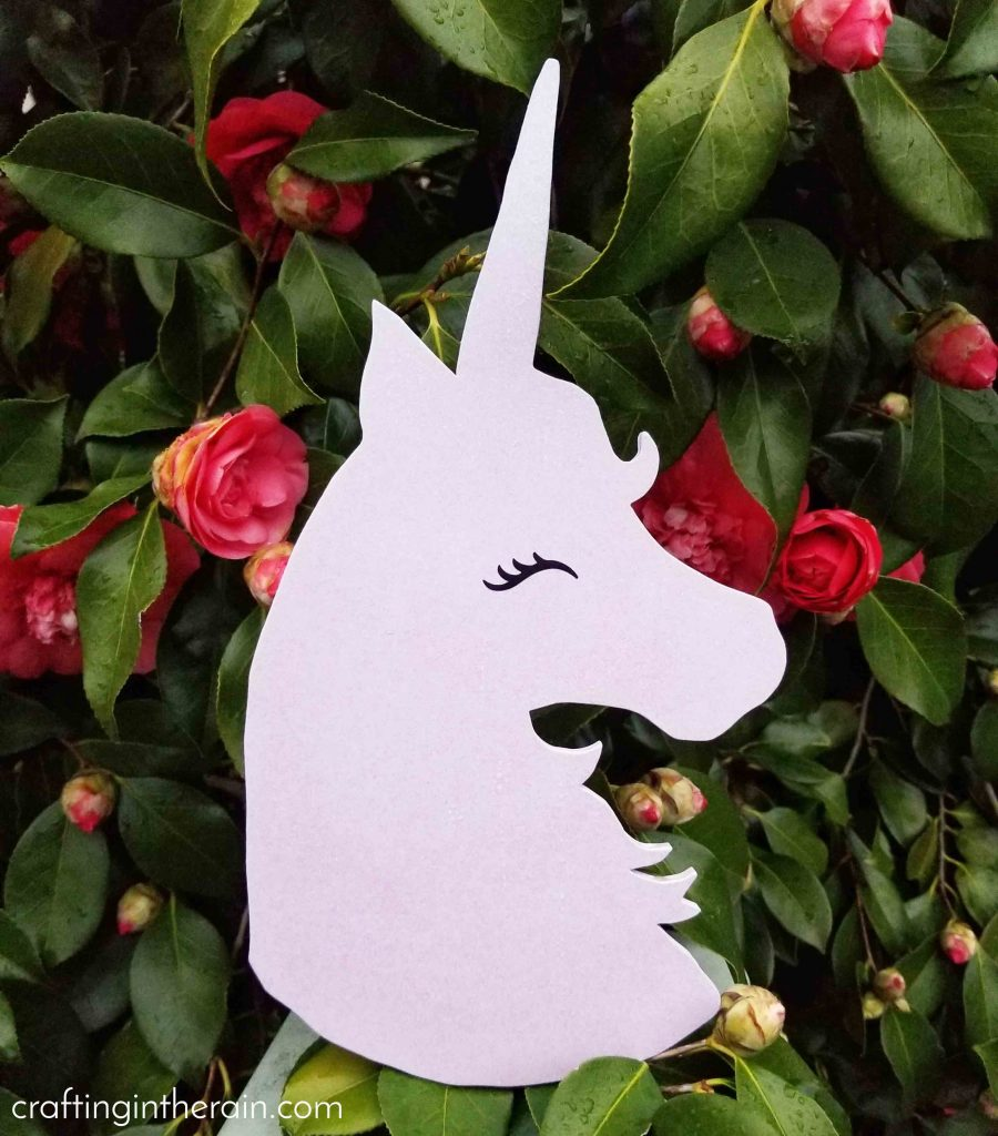 Purple glitter unicorn cutout