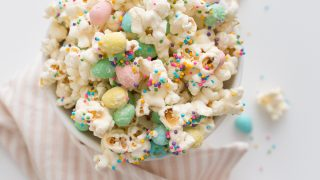 Easter Candy Popcorn with White Chocolate and Mini Eggs