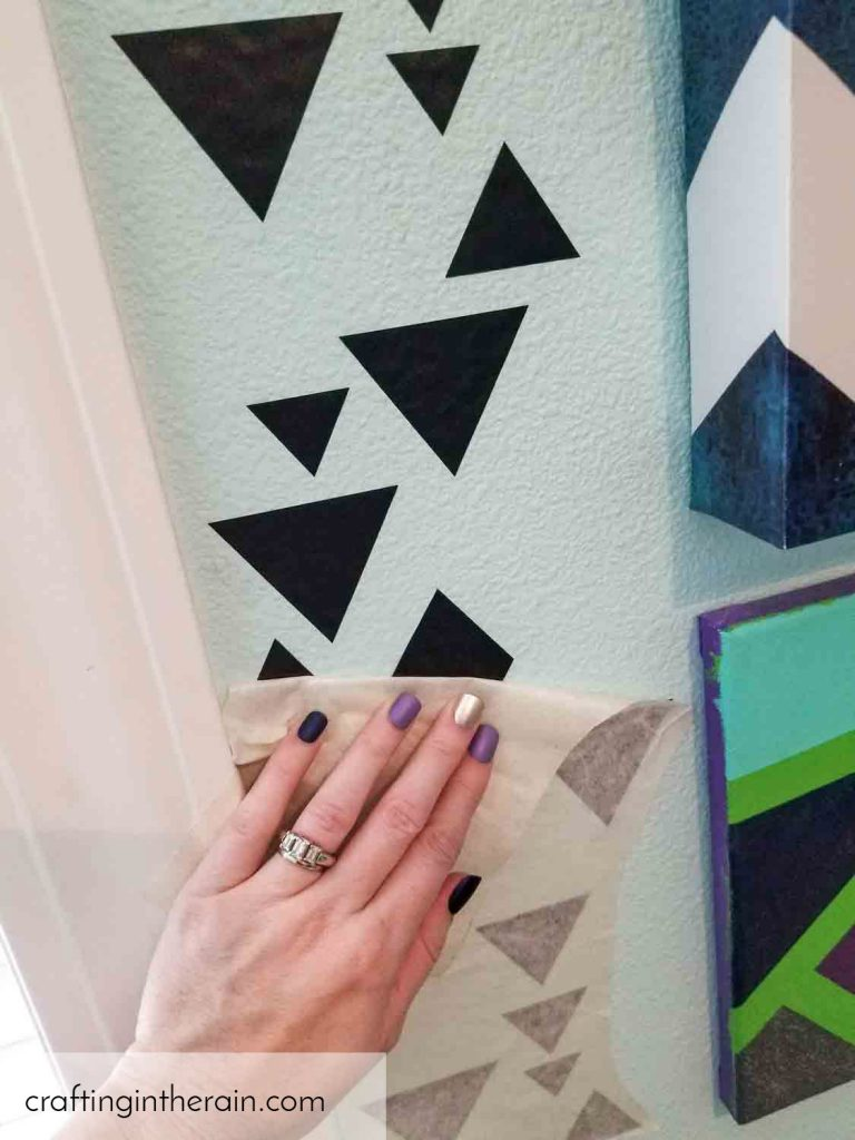 Apply vinyl pattern to wall