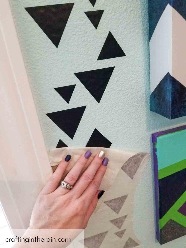 Apply vinyl pattern to wall