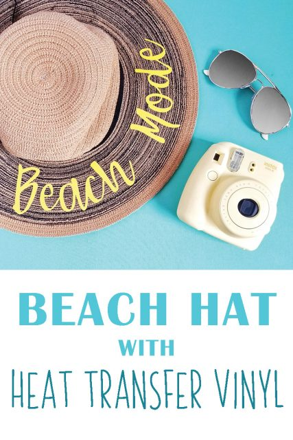 Beach hat with heat transfer vinyl