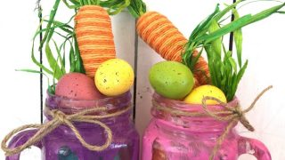 Easter Bunny Stencil Painted Jars