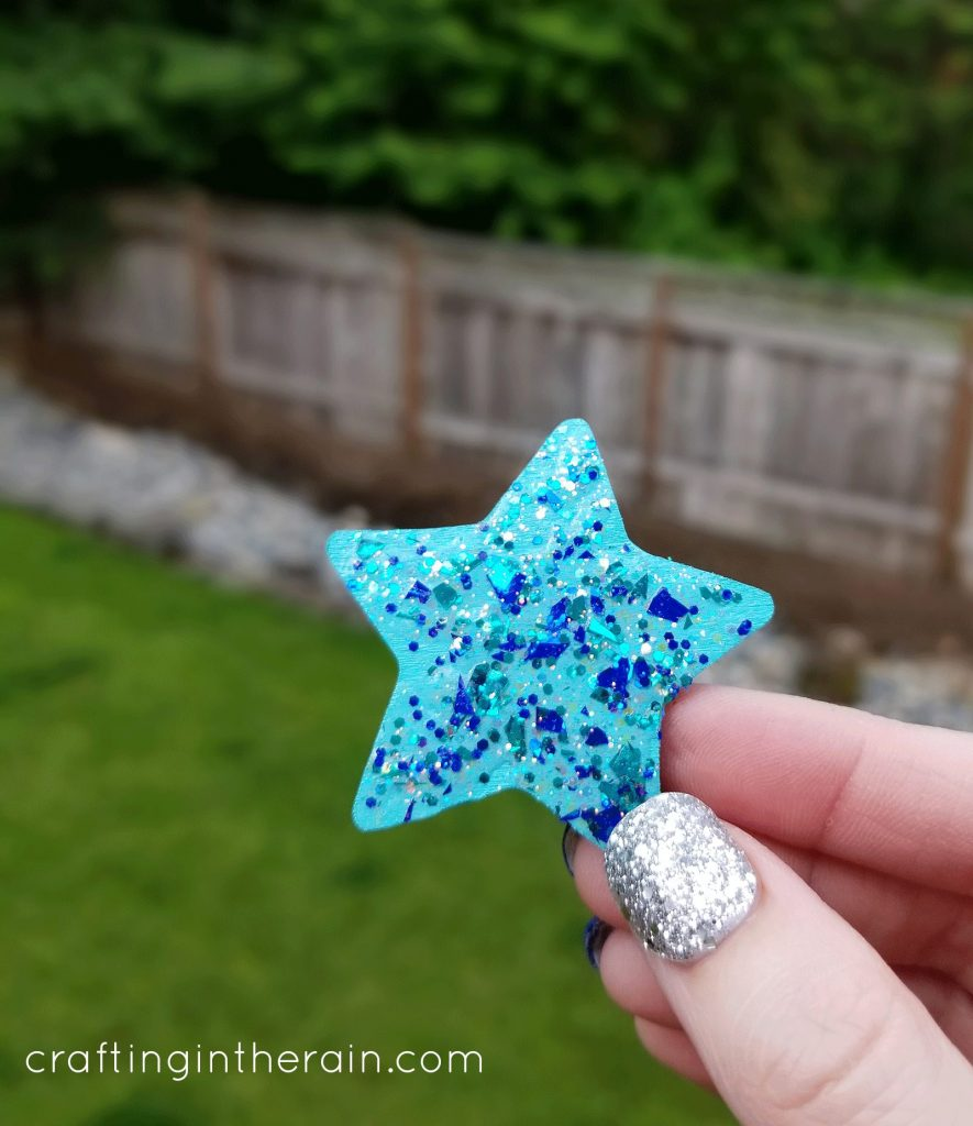 Glitter paint blue star