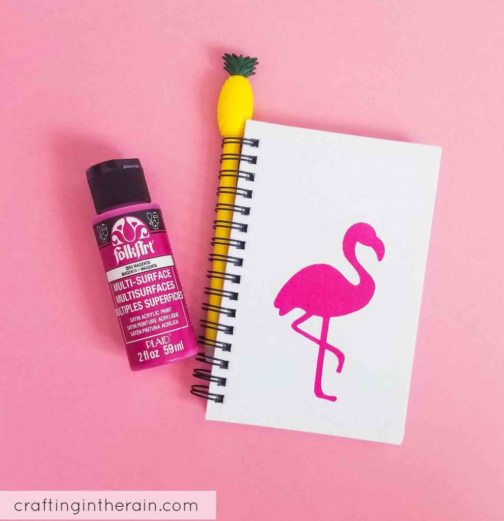 Diy flamingo notebook