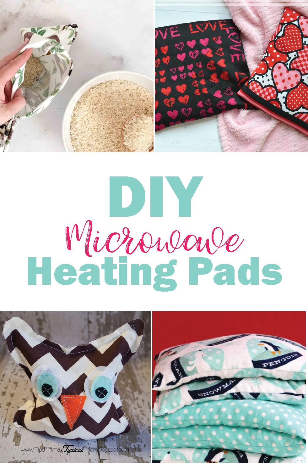 Different versions of diy microwave heating pads