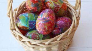 Mod Podge Floral Tissue Paper Easter Eggs DIY