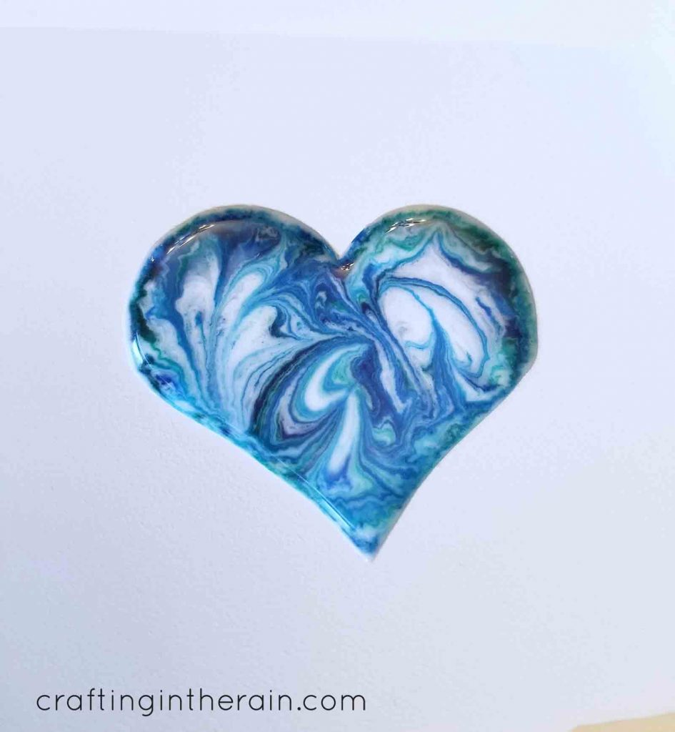 Swirl colors resin heart