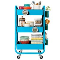 DESIGNA 3-Tier Metal Storage Rolling Cart with extra accessories
