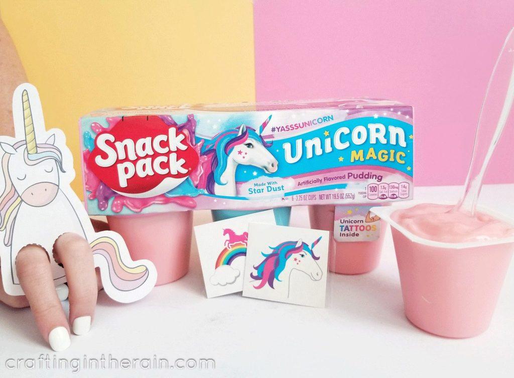 Unicorn snack pack pudding