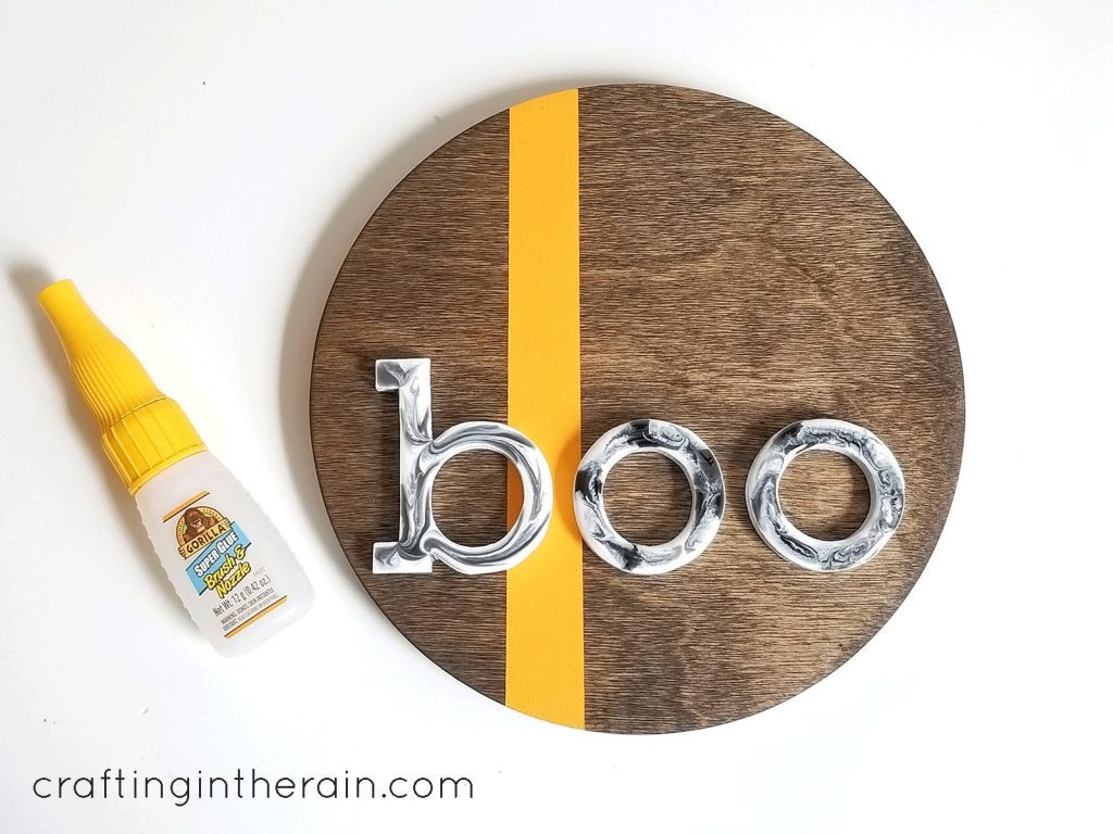 Boo resin wood sign