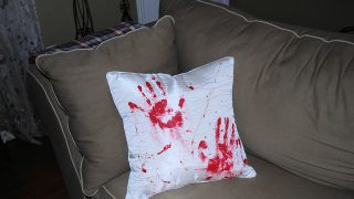 Bloody Halloween Throw Pillow