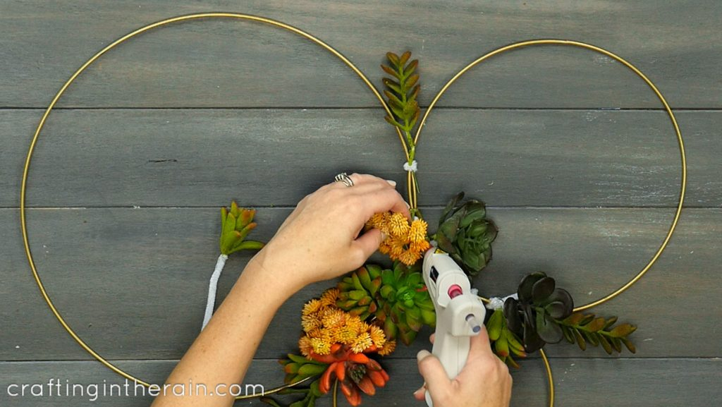hot glue faux succulents