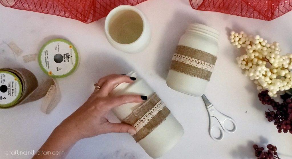 Mason jars with burlap lace