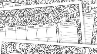 Free 2020 Printable Coloring Calendar
