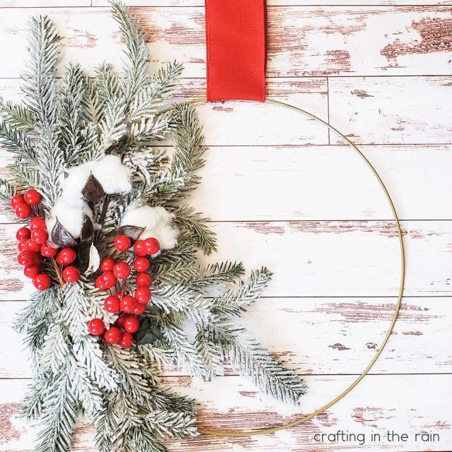 Off center hoop wreath