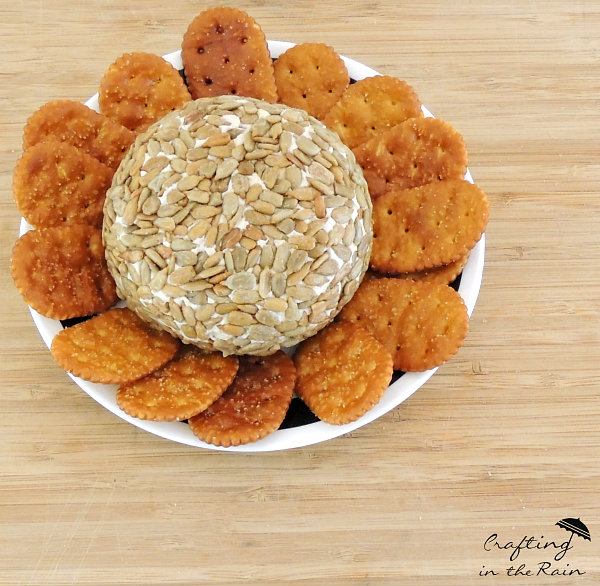 savory cheese ball with sunflower seeds
