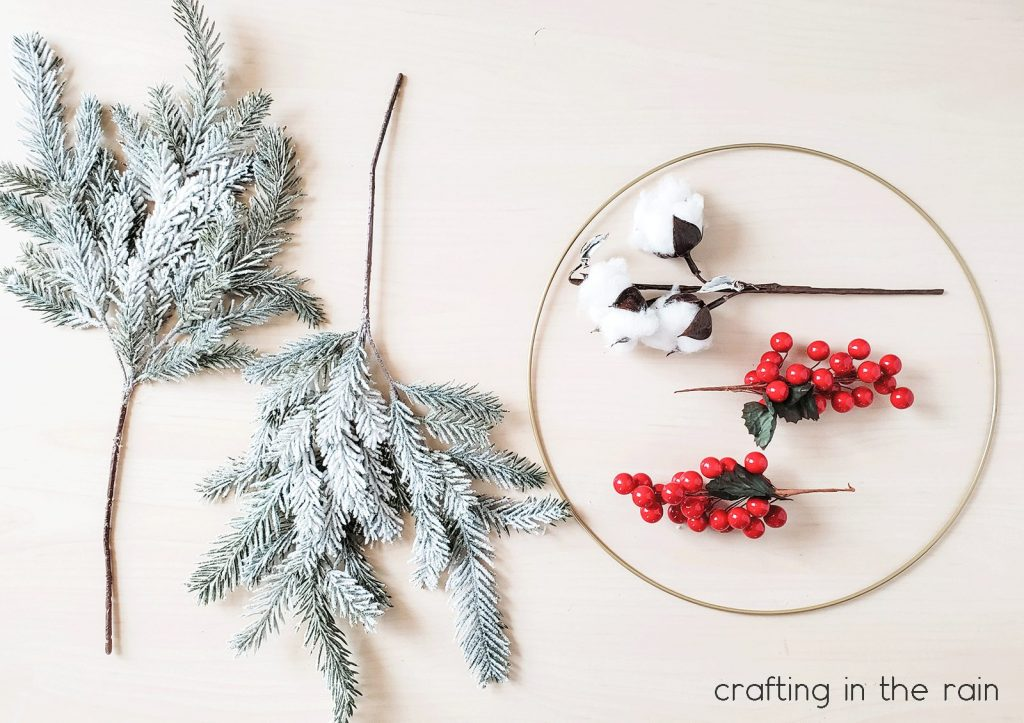 Supplies for making hoop wreath