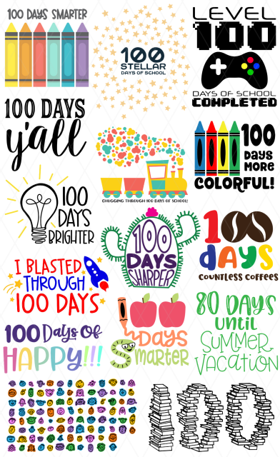 100 days of school svg