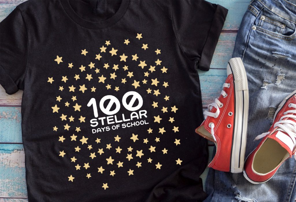 100 stars on black shirt
